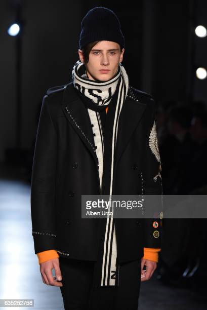 Noe Elmaleh walks the runway at the Zagdig Voltaire fashion show during New York Fashion Week at Skylight Modern on February 13 2017 in New York City