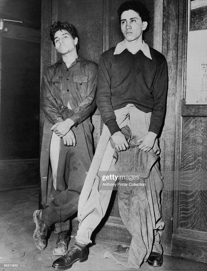 Noe Vasquez (left) and Joe Vasquez, (unrelated) Latino youths, who reported to the Los Angeles Police Department, after being attacked near Union Station by a gang of sailors, who had slashed their clothing, during the Zoot Suit Riots in Los Angeles, California, 10th June 1943. The riots broke out as tensions rose between servicemen stationed in the city and Latino youths, amongst whom zoot suits were the latest fashion.