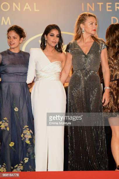 Noee Abita Leila Bekhti and Virginie Efira leave the screening of 'Sink Or Swim ' during the 71st annual Cannes Film Festival at Palais des Festivals...