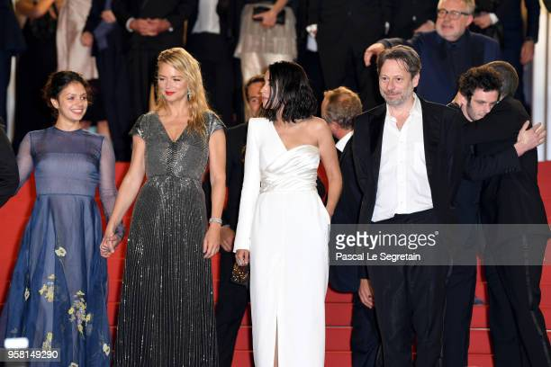 Noee Abita Virginie Efira Leila Bekhti and Mathieu Amalric attend the screening of 'Sink Or Swim ' during the 71st annual Cannes Film Festival at...