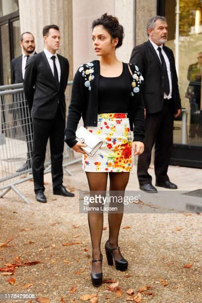 Noee Abita wearing Miu Miu outside Miu Miu during Paris Fashion Week Womenswear Spring Summer 2020 on October 01 2019 in Paris France