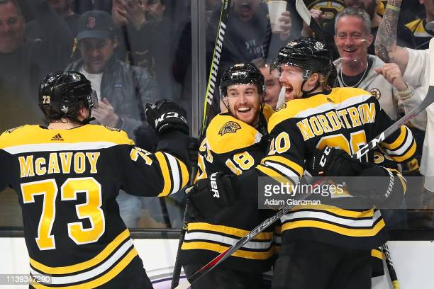 Noel Acciari celebrates with Joakim Nordstrom of the Boston Bruins after scoring in the first period in Game One of the Eastern Conference Second...