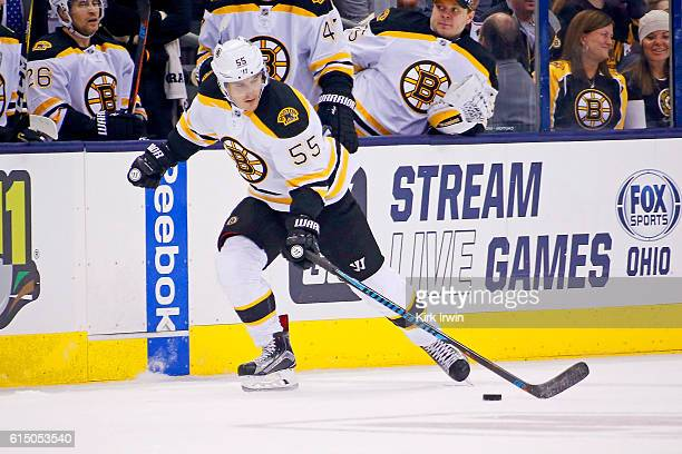 Noel Acciari of the Boston Bruins controls the puck during the game against the Columbus Blue Jackets on October 13 2016 at Nationwide Arena in...