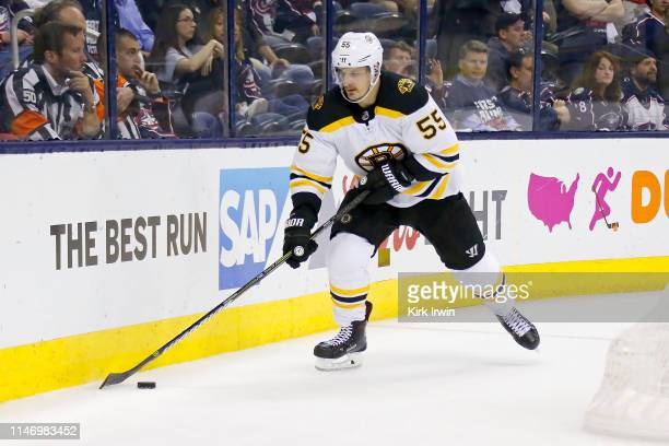 Noel Acciari of the Boston Bruins controls the puck while playing against the Columbus Blue Jackets in Game Four of the Eastern Conference Second...