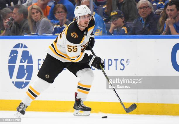 Noel Acciari of the Boston Bruins plays against the St Louis Blues during the third period of Game Four of the 2019 NHL Stanley Cup Final at...
