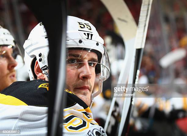 Noel Acciari of the Boston Bruins prepares to play against the New Jersey Devils at the Prudential Center on January 2 2017 in Newark New Jersey The...