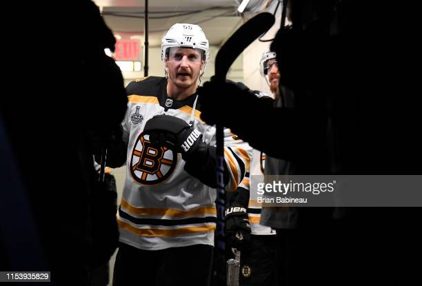 Noel Acciari of the Boston Bruins prepares to take the ice for warm ups before Game Four of the 2019 NHL Stanley Cup Final against the St Louis Blues...