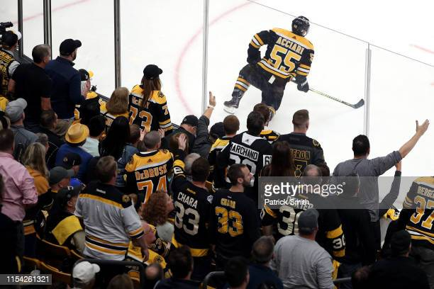 Noel Acciari of the Boston Bruins reacts to the third period goal by David Perron of the St Louis Blues in Game Five of the 2019 NHL Stanley Cup...