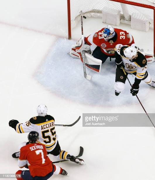 Noel Acciari of the Boston Bruins scores a second period goal past goaltender Samuel Montembeault of the Florida Panthers at the BBT Center on March...