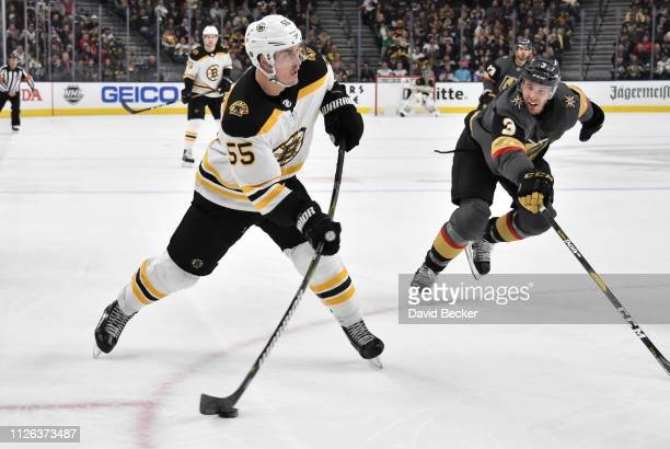 Noel Acciari of the Boston Bruins shoots the puck during the second period against the Vegas Golden Knights at TMobile Arena on February 20 2019 in...