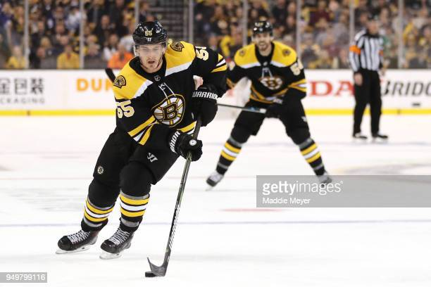 Noel Acciari of the Boston Bruins skates against the Toronto Maple Leafs during the third period of Game Five of the Eastern Conference First Round...