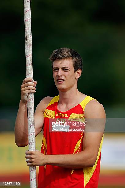 Noel Aman Del Cerro Vilalta of Spain looks on after a jump in the Boys Pole Vault during the European Youth Olympic Festival held at the Athletics...