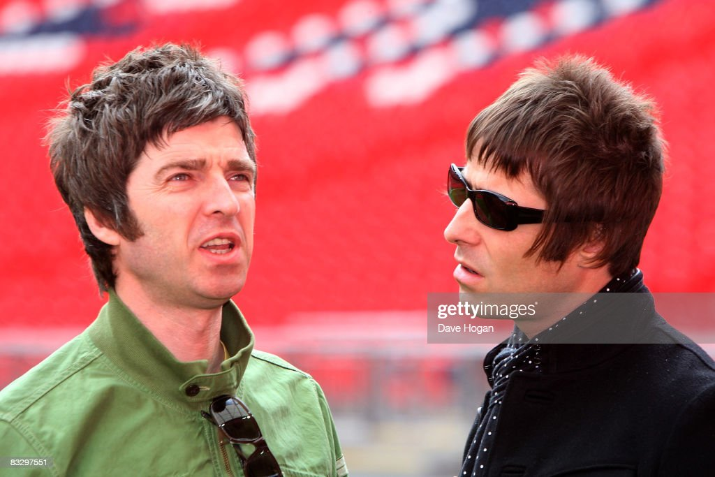 L-R Noel and Liam Gallagher attend the Oasis photocall in Wembley Stadium to promote their new album 'Dig out Your Soul' released on October 6, and their two sold out concerts at Wembley Arena, on October 16, 2008 in London, England.