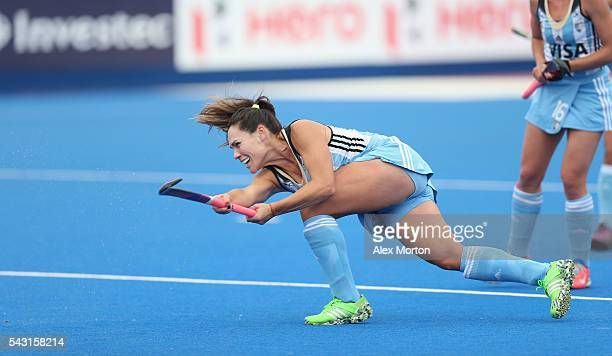 Noel Barrionuevo of Argentina scores their third goal during the FIH Women's Hockey Champions Trophy 2016 final match between Netherlands and...