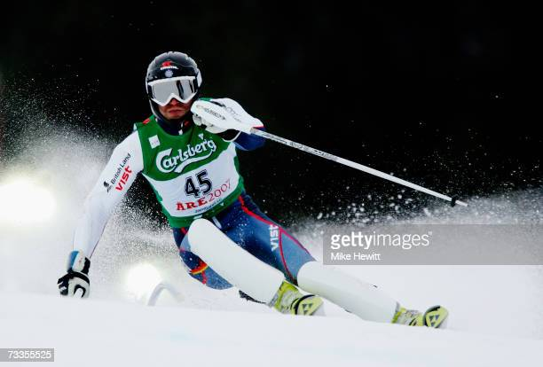 Noel Baxter of Great Britain competes during the Men's Slalom on day fifteen of the FIS World Ski Championships on February 17, 2007 in Are, Sweden.