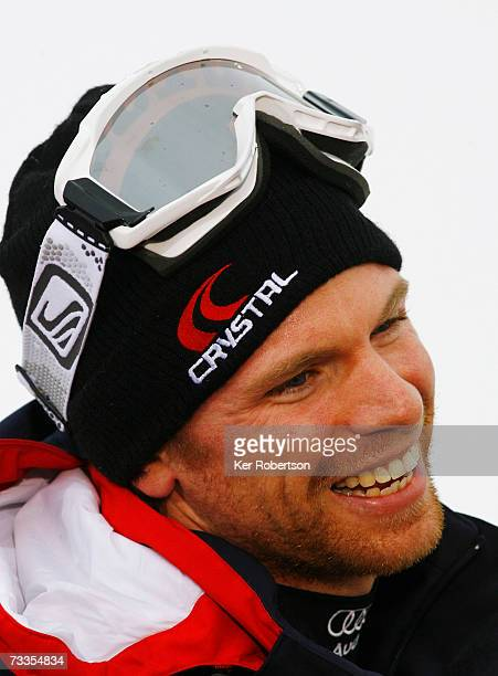 Noel Baxter of Great Britain is interviewed after the Men's Slalom on day fifteen of the FIS World Ski Championships on February 17, 2007 in Are,...