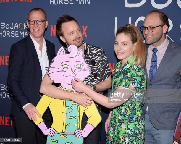Noel Bright Aaron Paul Lisa Hanawalt and Raphael BobWaksberg attend the premiere of Netflix's Bojack Horseman Season 6 at the Egyptian Theatre on...