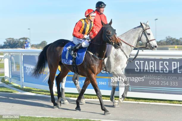 Noel Callow returns to the mounting yard on Electrolyte after winning the ISG Projects Maiden Plate at Racingcom Park Synthetic Racecourse on June 20...