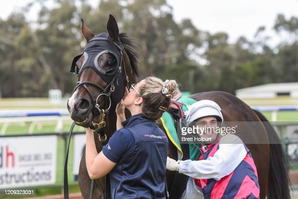 Noel Callow returns to the mounting yard on Nothin' Leica High after winning the Avis Car and Truck Rental BM64 Handicap at Bendigo Racecourse on...