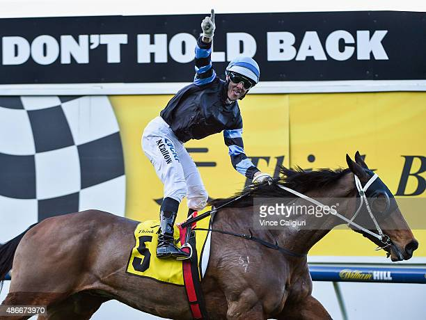 Noel Callow riding The Cleaner reacts on the line to win Race 7 the Dato'Tan Chin Nam Stakes during Melbourne Racing at Moonee Valley Racecourse on...