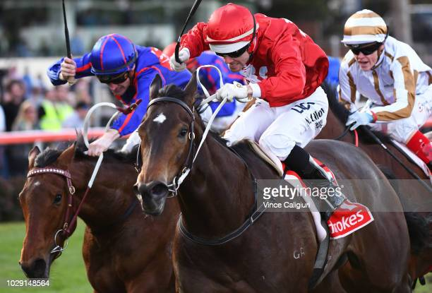 Noel Callow riding Thrillster defeats Mark Zahra riding Krone in Race 6 Atlantic Jewel Stakes during Melbourne Racing at Moonee Valley Racecourse on...