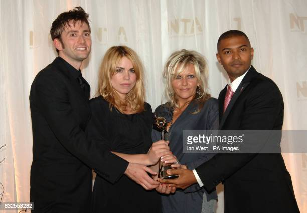 Noel Clarke Camille Coduri Billie Piper and David Tennant with the award for Most Popular Drama for Doctor Who at the National Television Awards 2006...