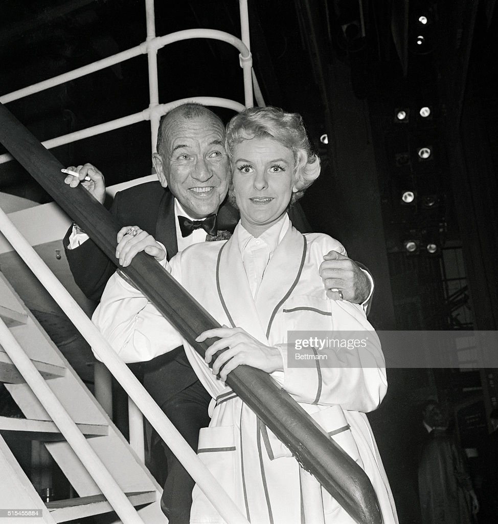 Noel Coward and Elaine Stritch backstage after the opening of the new musical Sail Away, at the Broadhurst Theater, in which Ms. Stritch stars.