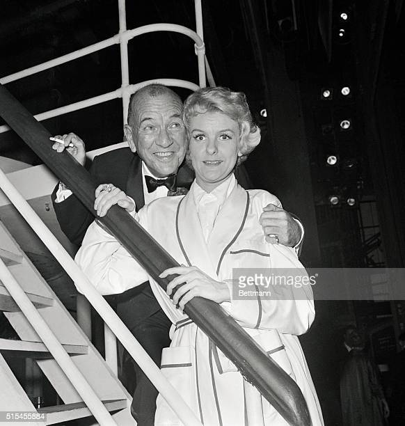Noel Coward and Elaine Stritch backstage after the opening of the new musical Sail Away at the Broadhurst Theater in which Ms Stritch stars