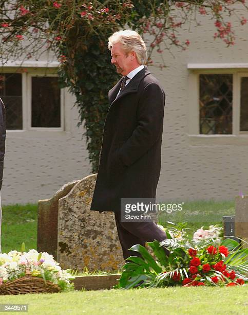 Noel Edmonds arrives at the Funeral of Caron Keating following her death from breast cancer last week at Hever Church in Edenbridge on April 20 2004...
