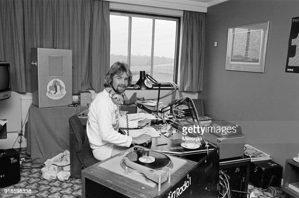 Noel Edmonds BBC Radio One Radio DJ broadcasting from Hotel Room he is currently taking part in the Texaco Car Rally 1st August 1976