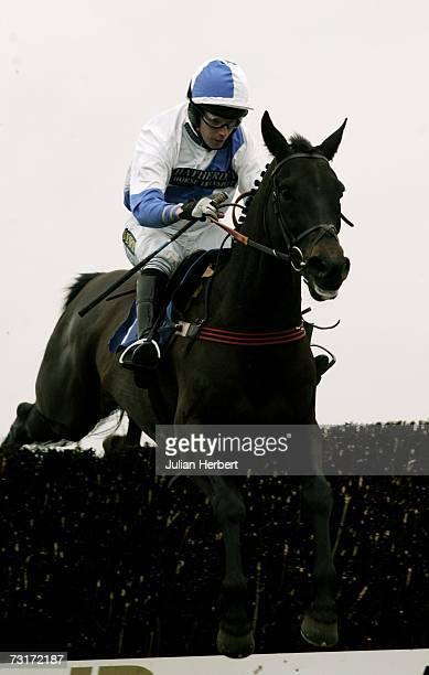 Noel Fehily and Priors Dale clear the second last fence before landing The Dick Reynolds Novices Handicap Steeple Chase Race run at Wincanton...