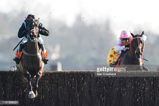 Noel Fehily riding Bags Groove clear the last to win The 888Sport Pendil Novices' Chase at Kempton Park Racecourse on February 23 2019 in Sunbury...