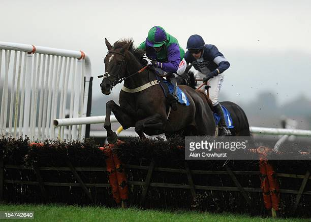 Noel Fehily riding Dancingtilmidnight clear the last to win The TBA Mares' Novices' Hurdle Race at Ludlow racecourse on October 25 2012 in Ludlow...