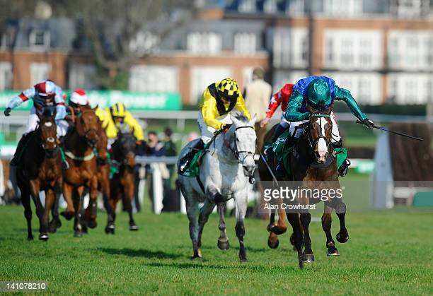 Noel Fehily riding Paintball win The Paddy Power Imperial Handicap Hurdle Race at Sandown racecourse on March 10 2012 in Esher England