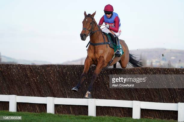 Noel Fehily riding The Worlds End clear the last to win The Neville Lumb Novices' Chase at Cheltenham Racecourse on December 14 2018 in Cheltenham...