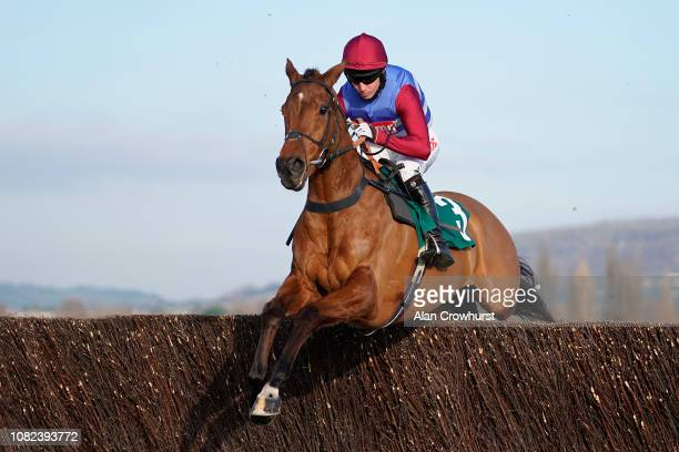 Noel Fehily riding The Worlds End on their way to winning The Neville Lumb Novices' Chase at Cheltenham Racecourse on December 14 2018 in Cheltenham...
