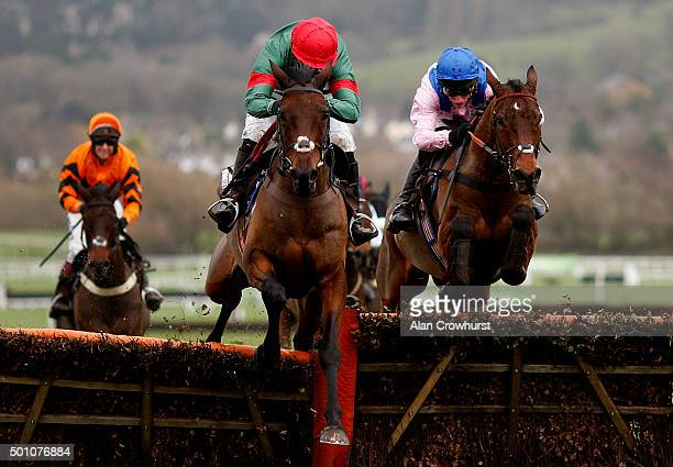 Noel Fehily riding Unowhatimeanharry clear the last to win The Albert Bartlett Novices' Hurdle Race at Cheltenham racecourse on December 12 2015 in...