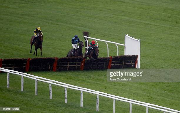 Noel Fehily riding Unowhatimeanharry clear the last to win The bet365com Novices' Handicap Hurdle Race at Newbury racecourse on November 26 2015 in...