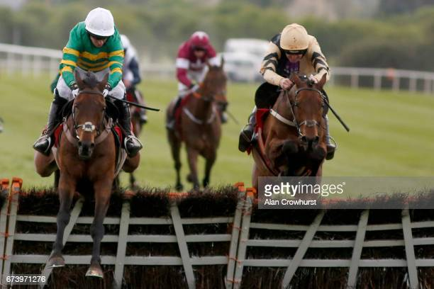 Noel Fehily riding Unowhatimeanharry cler the last to win The Ladbrokes Champion Stayers Hurdle from Nichols Canyon at Punchestown racecourse on...