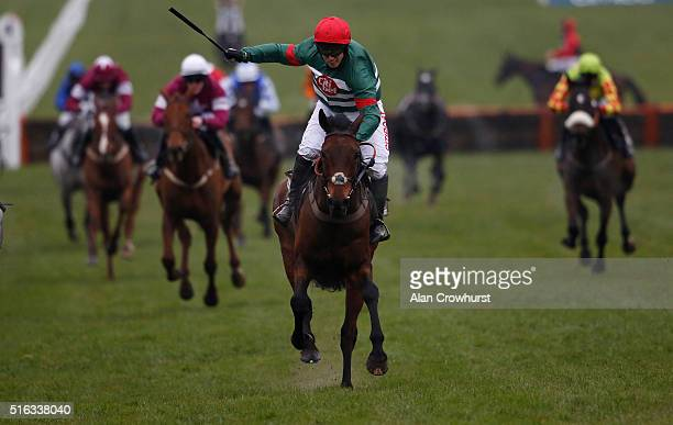 Noel Fehily riding Unowwhatimeanharry celebrates winning The Albert Bartlett Novices' Hurdle Race during the Gold Cup Day of Cheltenham Festival at...
