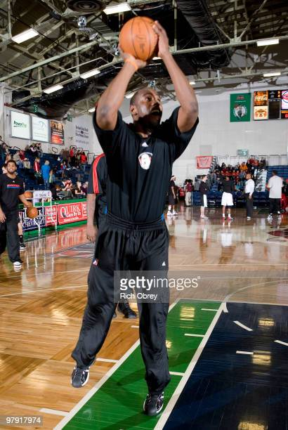 Noel Felix of the Springfield Armor warms up before the game against the Maine Red Claws on March 21 2010 at the Portland Expo in Portland Maine...