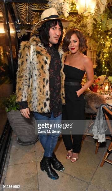 Noel Fielding and Caroline Flack attend the launch of The Tanqueray No TEN Table at Dalloway Terrace hosted by Gizzi Erskine on January 30 2018 in...