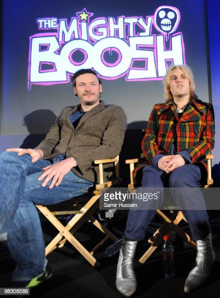 Noel Fielding and Julian Barratt of The Mighty Boosh meet fans at The Apple Store on Regents Street on April 7 2010 in London England