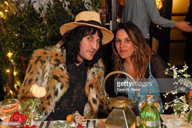 Noel Fielding and Lliana Bird attend the launch of The Tanqueray No TEN Table at Dalloway Terrace hosted by Gizzi Erskine on January 30 2018 in...