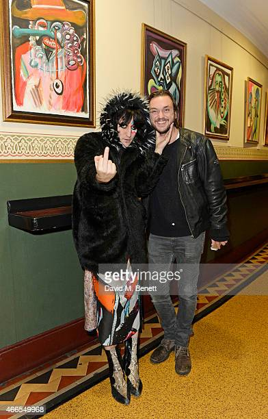 Noel Fielding and Sam McCarthy a private view of 'He Wore Dreams Around Unkind Faces' an exhibition by Noel Fielding at the Royal Albert Hall on...