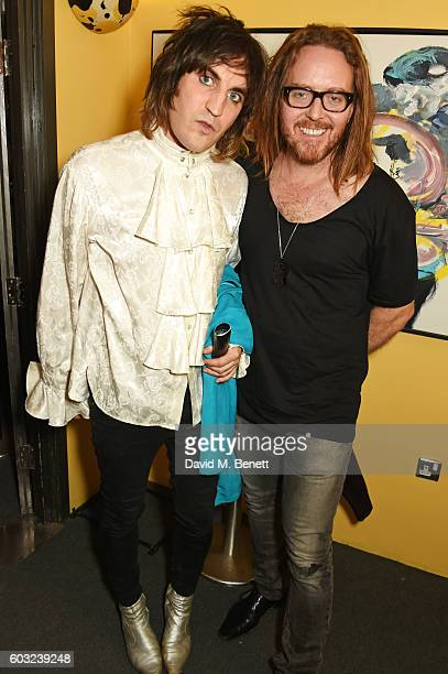 "Noel Fielding and Tim Minchin attend the press night performance of ""27"" at The Cockpit Theatre on September 12, 2016 in London, England."