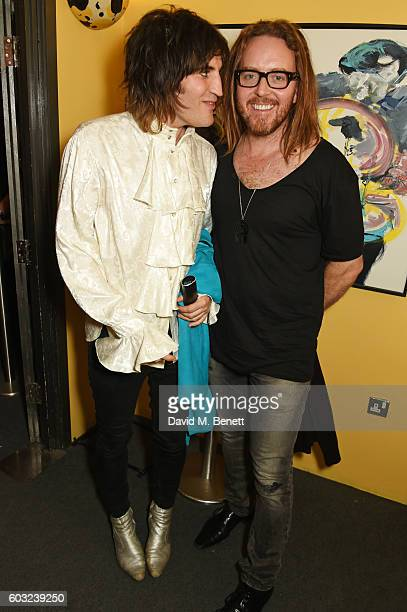 Noel Fielding and Tim Minchin attend the press night performance of '27' at The Cockpit Theatre on September 12 2016 in London England