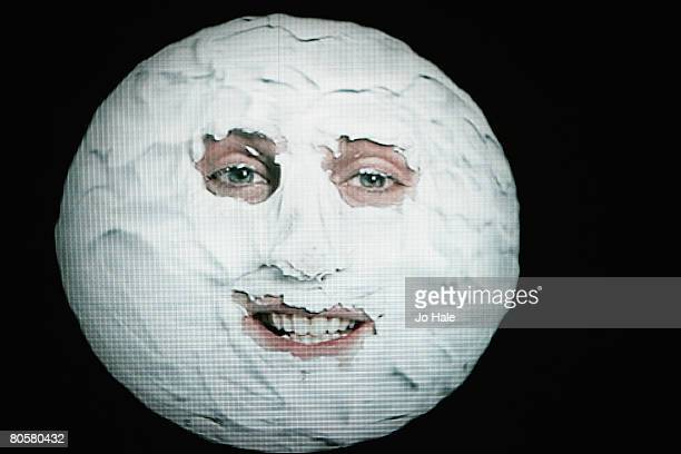 Noel Fielding as the 'moon' from The Mighty Boosh performs live on stage during the second night of a series of concerts and events in aid of Teenage...