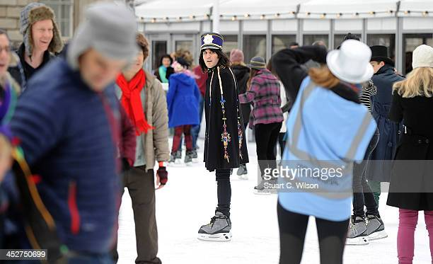Noel Fielding attends a special skate session where skaters were invited to wear extravagent and eccentric hats in tribute to Isabella Blow at...