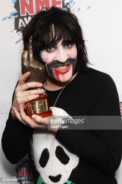 Noel Fielding poses with his best DVD award for The Mighty Boosh in front of the winners boards at the Shockwaves NME Awards 2010 held at Brixton...